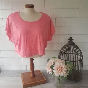VICTORIA SECERT hot pink cropped t-shirt